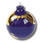 PG009 - Earth Ornament, Glass With 22k Gold Continents, Gift Box, 2.5 Inch Diameter
