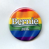 B490 - Bernie 2016 Rainbow Pride Button