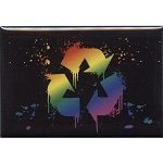 FM017 - Splatter Rainbow Recycle Symbol Fridge Magnet
