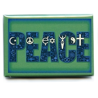 FM084 - Coexist in Peace Interfaith Symbol Mosaic Fridge Magnet