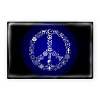 FM082 - Coexist Peace Symbol Interfaith Fridge Magnet