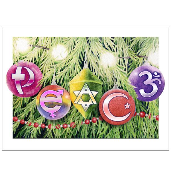 Peace Symbols Ornaments Holiday Greeting Card
