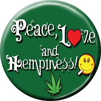 B473 - Peace Love and Hempiness Button