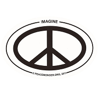 OS007 - Imagine PEACE Oval ID Sticker