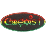 P232 - Coexist Rasta Symbols Oval Patch