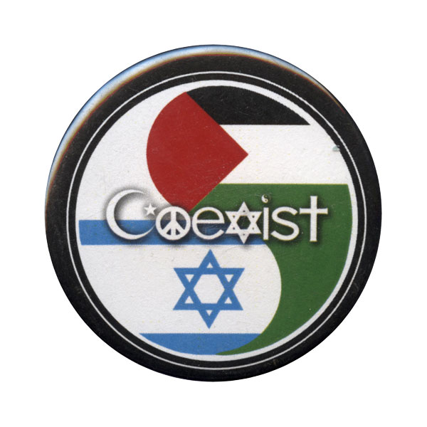 B019 - Coexist on Israel and Palestine Flag Yin Yang Button