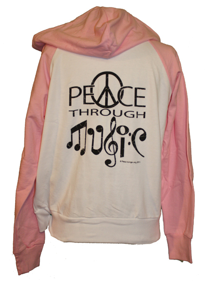 WHS002 - Peace Through Music Womens Long Sleeve Zipper Hoodie