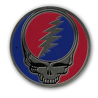 A067L - 3 inch Brass Metal Grateful Dead Steal Your Face Sticker