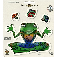 A078 - Juggling Frog Art Decal Window Sticker