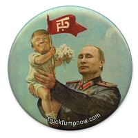 B503 - Putin Holding a Grinning Baby Trump Button