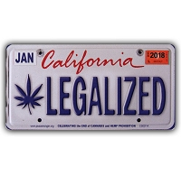 CS007A - LEGALIZED California Cannabis Hemp License Plate Color Sticker