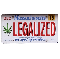 CS007C - LEGALIZED Massachusetts Cannabis Hemp License Plate Color Sticker