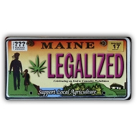 CS007D - LEGALIZED Maine Cannabis Hemp License Plate Color Sticker