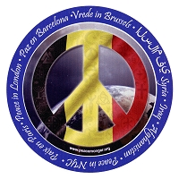 CS201-D - Peace in Belgium Interfaith Coexist Flag Sticker