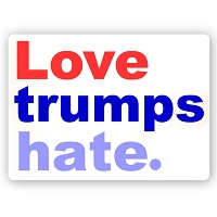 CS242 - Love Trumps Hate - Anti Trump Color Sticker
