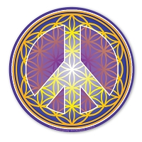 CS245-B - Flower of Life Peace Symbol Gold Color Sticker