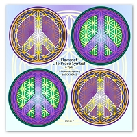 CS245-P - Flower of Life Peace Symbol Mini Sticker 4-Pack