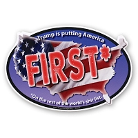 CS363 Trump is Putting America First No Trump Never Trump Sticker