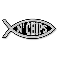 F05 - Fish N'Chips 3D Chrome Auto or Truck Emblem