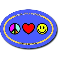 OM019 - Peace, Love and Happiness Mini Oval Bumper Sticker