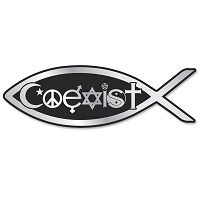 PF001 - Classic Coexist Fish 3-D Chrome Emblem for Auto Truck and Home