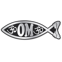 PF004 - Om Fish Chrome 3D Emblem for Auto Truck and Home