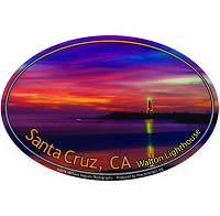 SC020-A - Santa Cruz Walton Lighthouse Oval Sticker