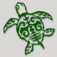 V073 - Tribal Sacred Sea Turtle Vinyl Cutout Window Sticker
