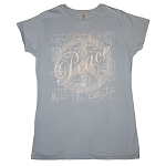WT010DB - Peace Languages Word Cloud Blue Women's Fitted T-shirt CLOSEOUT