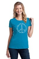 WT016 - Coexist Peace Symbol Interfaith Womens Fitted T-shirt