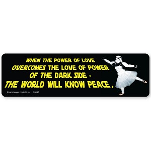 CS196 - When the power of love overcomes the love of power of the dark side - Star Wars Parody Quote Color Sticker