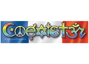 CS202 - COEXISTER - French Interfaith Coexist Flag Sticker