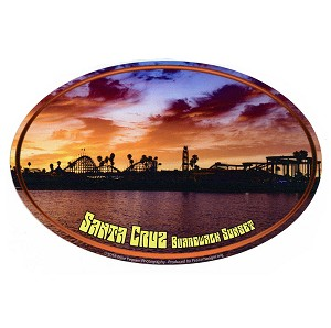 SC020-C - Santa Cruz Boardwalk Sunset Oval Sticker