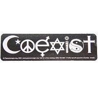 A335 - Coexist White on Clear Art Decal Window Sticker