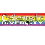CS002 - Celebrate Diversity in Symbols Rainbow Full Color Bumper Sticker