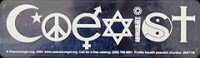 BMA335 - Coexist White on Clear Bumper Magnet
