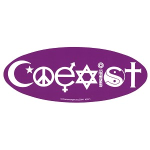 S071 - Coexist Oval Large Bumper Sticker