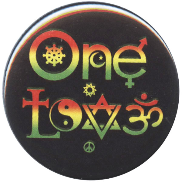 B454 One Love Symbols Rasta Pin Back Button Ebay