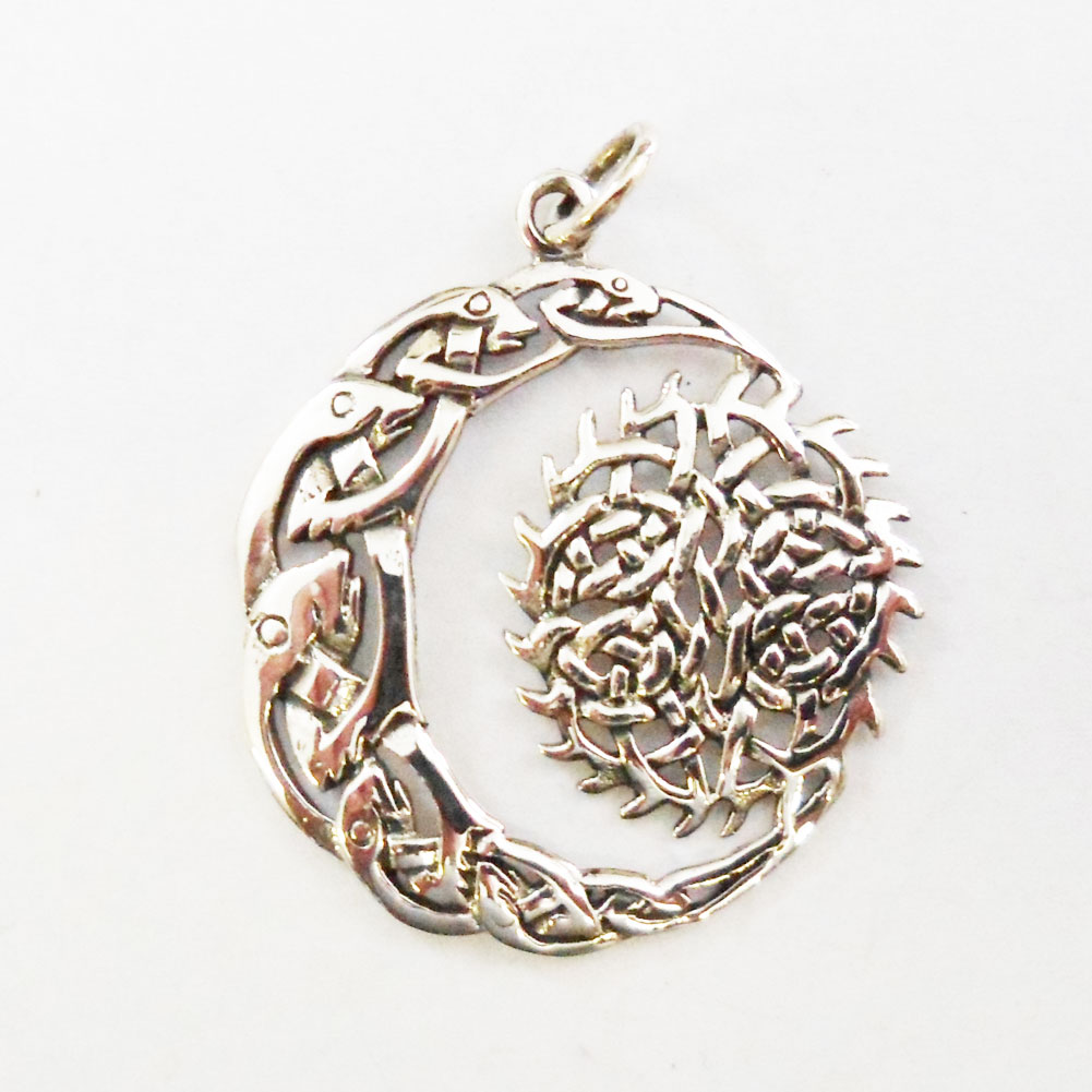 Sterling silver celtic moon and sun pendant j138 sterling celtic moon and sun pendant aloadofball Choice Image