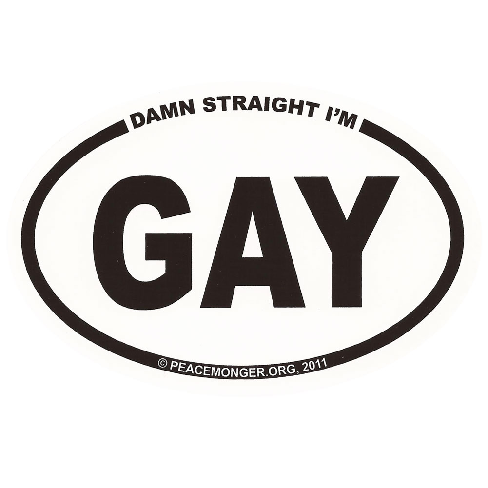 Equal rights rainbow male female symbols equality button os023 damn straight im gay oval bumper sticker buycottarizona