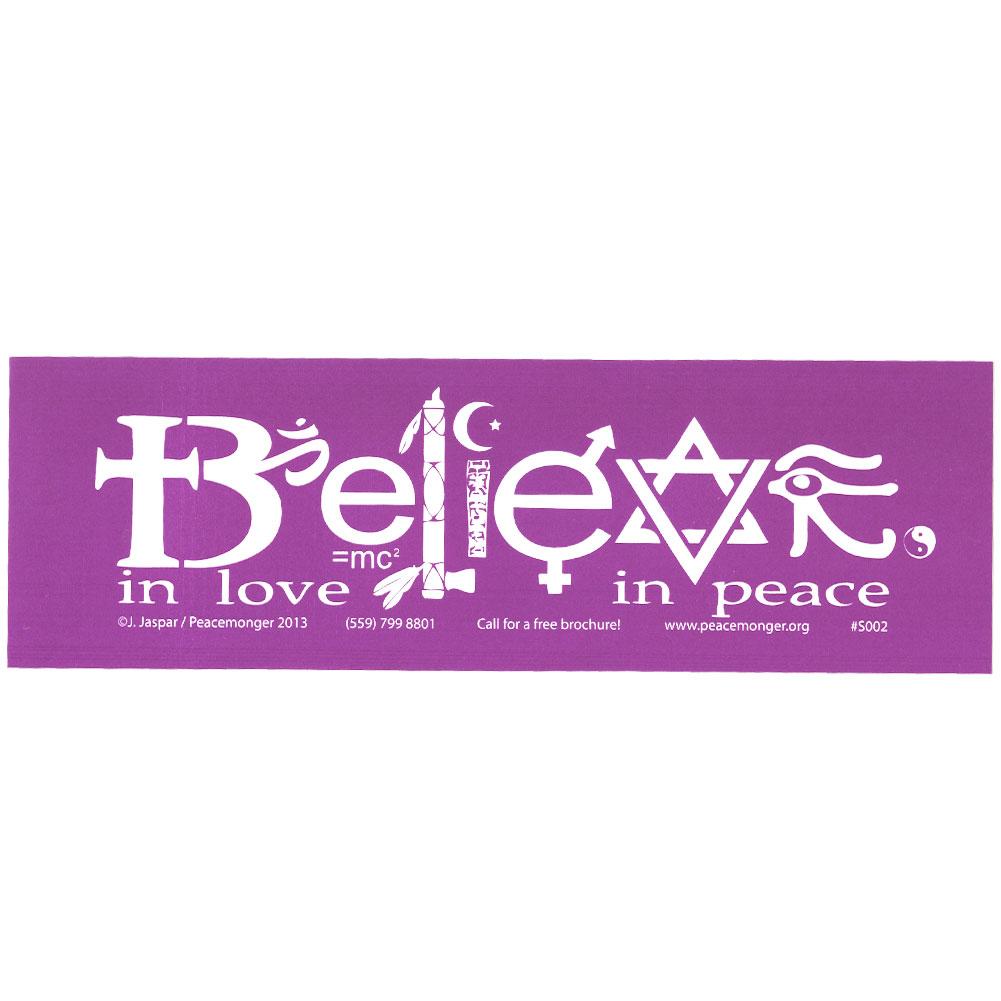 Believe in love in peace symbols large bumper sticker biocorpaavc