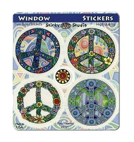 A413 - Four Peaces Psychedelic Peace Symbol Window Decal Set