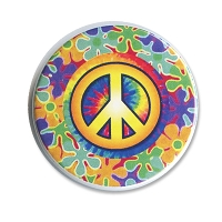 B523 Psychedelic Tie Dye Flower Power Peace Symbol Button
