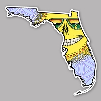 CS314 - Deadhead States - Grateful Florida Skeleton Sun Cut Out Sticker