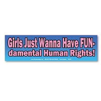 CS370 Girls Wanna Have FUNdamental Human Rights Womens March Protest Rally Sticker Decal