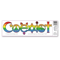 CS375-MAG Rainbow Transgender Coexist Interfaith Trans Rights Sticker Magnet