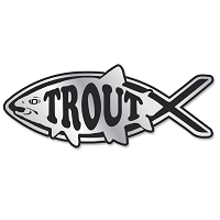PF006-MAG  Trout Fish Chrome 3D Emblem for Auto Truck  Jesus Parody Darwin MAGNET